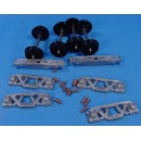 O SCALE ANDREWS FREIGHT CAR TRUCKS WITH PLASTIC WHEELS