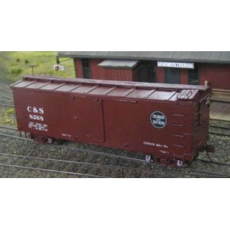 On3/On30 C&S STEEL UNDERFRAME BOX CAR KIT WITH LASER CUT WOOD BODY