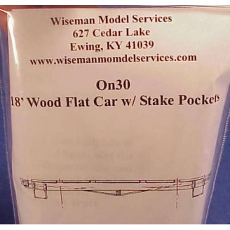On30 18' WOOD FLAT CAR WITH STAKE POCKETS