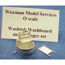 O SCALE WASHTUB, BOARD AND WRINGER SET