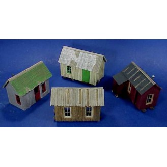 O/On3/On30 MINING OR LOGGING CABINS SET OF 4