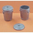 S SCALE LARGE TRASH CANS WITH LIDS