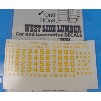 On3/On30 WEST SIDE LUMBER YELLOW LOCO DECALS