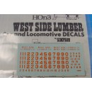 HOn3 WEST SIDE LUMBER ORANGE LOCO DECALS