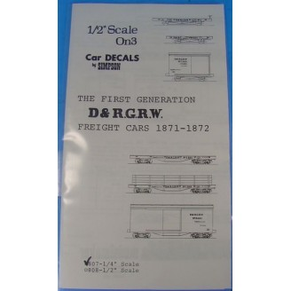 On3/On30 EARLY D&RG CARTER FREIGHT CAR DECALS