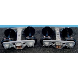 O SCALE SPRUNG ROLLER BEARING TRUCKS WITH INTERMOUNTAIN WHEELS