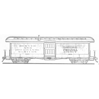 Sn3 D&RGW OPEN PLATFORM BAGGAGE PASSENGER CAR KIT