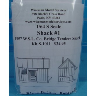 S SCALE OR Sn3 SMALL SHACK #1 1957 W.S.L. CO. BRIDGE TENDERS SHACK KIT