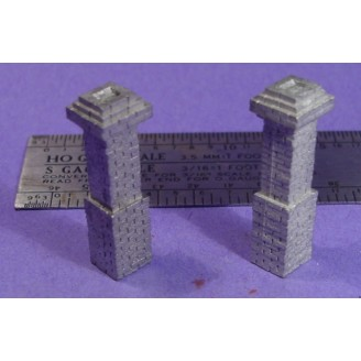 S SCALE / Sn3 DETAIL PARTS : 2 BRICK CHIMNEYS D&RGW STYLE