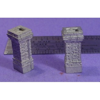 S SCALE / Sn3 DETAIL PARTS : SHORT BRICK CHIMNEYS D&RGW STYLE