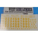 HOn3 WEST SIDE LUMBER CO. YELLOW LOCOMOTIVE DECALS